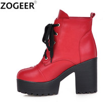 Plus Size 43 Winter Autumn Lacing Sexy Women Boots Fashion Platform punk square high heels Ankle boots Shoes Woman
