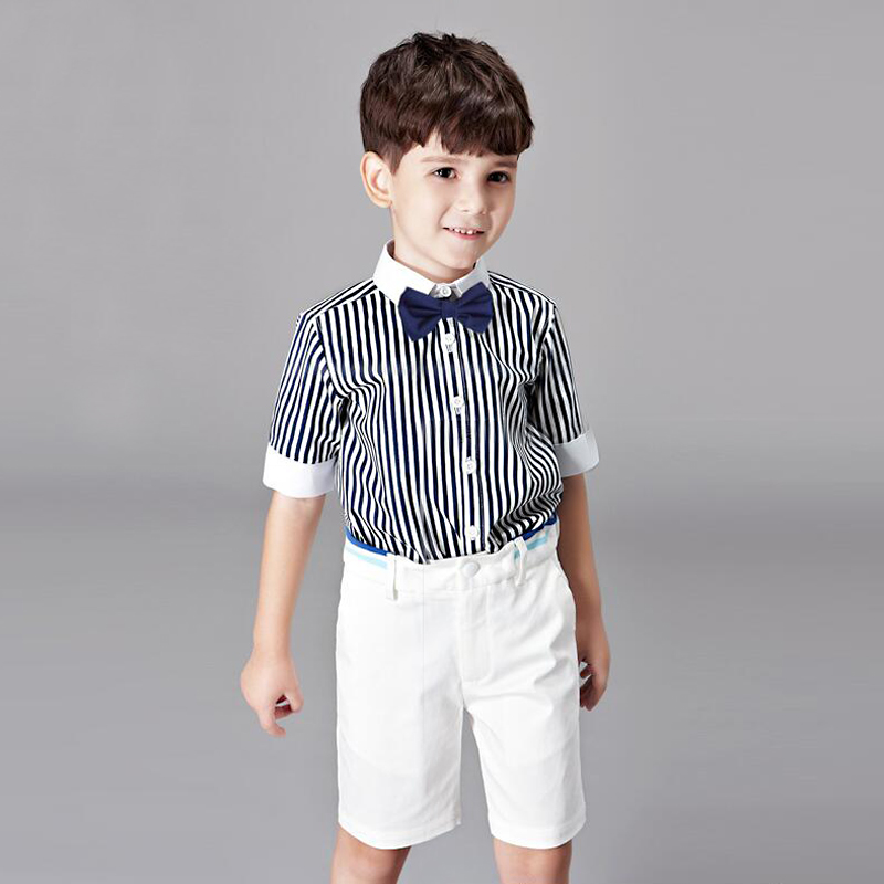 Childrens Suits for Wedding Party Clothes Formal T-Shirt + Shorts + Bow 2017 Summer Boys 3-14 Year Chorus Piano Young Students<br>