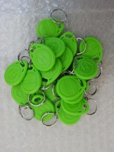 50pc RFID Tag Proximity ID Token Tags Key Keyfobs 125Khz Card Chip ID em4100 for door Access Control Time Attendance Green Color