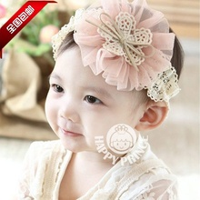 Korean New Arrival 2017  Flower Baby Hair Bands Child Headwear Kids Hair Accessory Girls Headbands White Black Pink Yellow Red