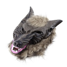 2017 Hot Sale Latex Animal Wolf Head Mask with Hair Halloween Party Fancy Scary Dress Costume Horror Anonymous Face Masks(China)