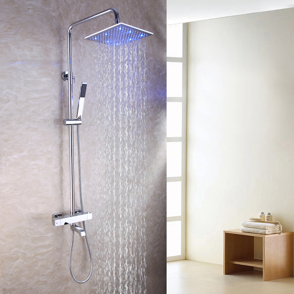 10 Inch Square Temperature Sensitive LED Shower Mixer Head Exposed Bath Thermostatic Shower Faucet Set