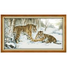 Большой Размеры тигр картина Счетный крест 11ct печатных 14ct Вышивка крестом Набор животных крестиком Наборы Вышивка рукоделие(China)
