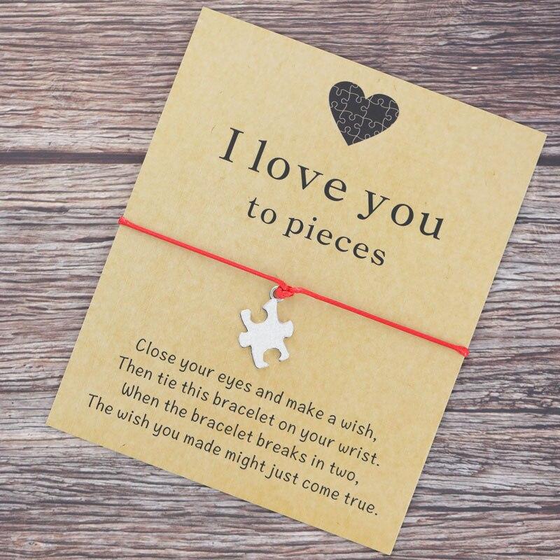 jigsaw charm bracelet jigsaw jewelry jewellery love you to pieces puzzle wish bracelet cord bracelet friendship bracelet friend string bracelet