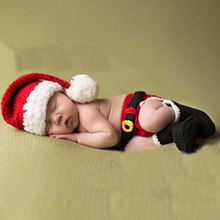 3pcs/Set Handmade Cotton Newborn Photography Props Baby Infants Crochet Knitted Christmas Costume Photography Props 2 sizes