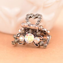 (2Pcs/Lot) Mini Rhinestones Hair Clip Crab Claw Women Jewelry Retro 4 Colors Available Hair Accessories