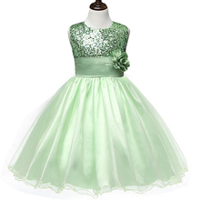 Baby Girls Baptism Clothing Flower Dress Formal Gown Costume Tulle Sequined Ball Gown Kids Children Girl Events Wear Clothes