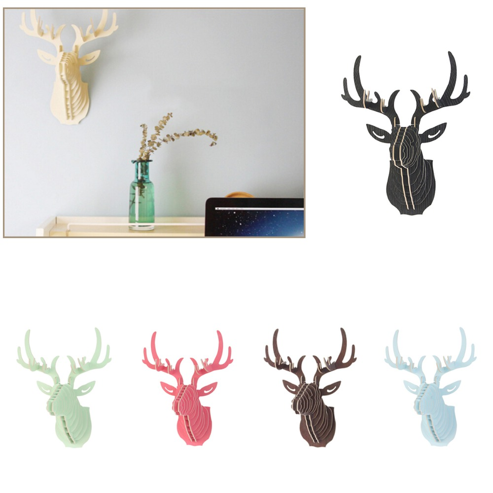 Excellent 3D Puzzle Wooden DIY Model Wall Hanging Deer Head Elk Wood Animal Wildlife Sculpture Figurines Gift Crafts Home Decor(China (Mainland))