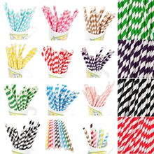 25 PCS Colorful Environmental Chevron Striped Paper Drinking Straws For Wedding Birthday Bar/Pub Party Supplies Xmas Baby Kids(China)