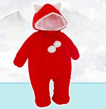 2017 Baby winter christmas dress newborn girls jumpsuit thickening down cotton romper baby clothes bebes clothing snow wear Red