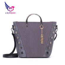 Shoulder Bags Women Michael Handbag Rivet Bucket Handle Tote Bag 2018 Autumn Winter Fashion Wide Strap Commute Bag Bolsos Mujer(China)