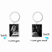In Memory Wedding /Engagement/Dating Picture Keychains For Lover Gift,Stainless Steel Custom Picture Dog Tag Keyrings