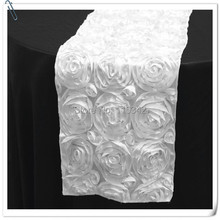 20pcs Top Quality 3D Rosette Embrodiery  white   Table Runners 30x275cm For Weddings &Party &Banquet Decoration FREE SHIPPING