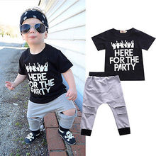 Summer Baby Boy Cool Clothes Set Letter Sweatshirt Tops+Hollowed Pants 2pcs Outfits