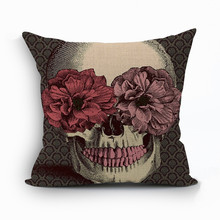 RUBIHOME Halloween Mexican Sugar Skull Cushion(No inner) Polyester Decorative Throw Pillow Sofa Home Decor Gift for Friend(China)
