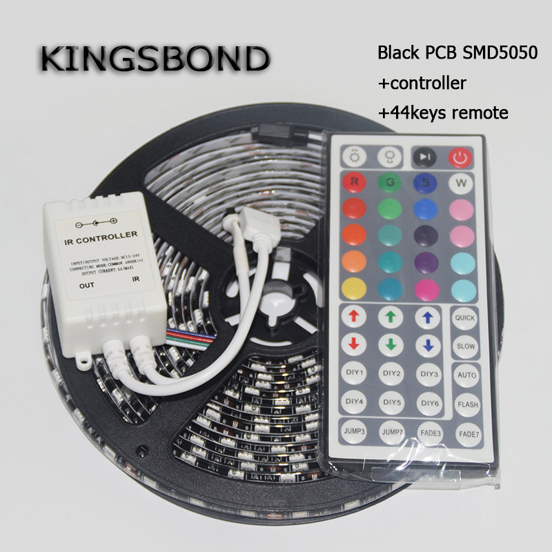 ONE set RGB 5050 Black PCB Board LED Strip DC12V 60LED/M 5M/Roll flexible ribbon 44keys controller