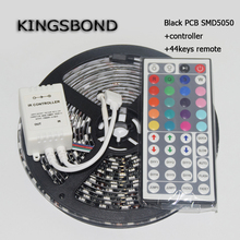 ONE set RGB 5050 Black PCB Board LED Strip DC12V 60LED/M 5M/Roll flexible ribbon with 44keys controller(China)