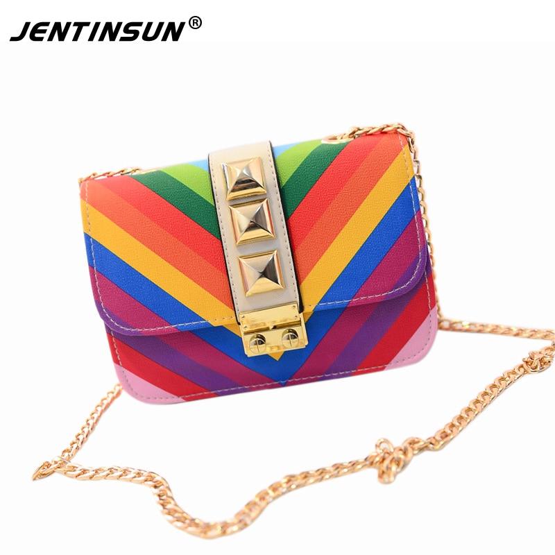 2017 Fashion Women Messenger bags Chains Shoulder Bag PU Leather Crossbody Bag Women Handbag Geometric Rainbow Women Bags<br><br>Aliexpress