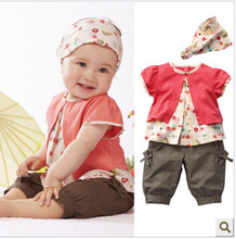 3pcs/set Fashion Cute Toddler Girls Clothing Set summer style Print Fruits T-shirt & middle pants & cute hair band for baby Girl