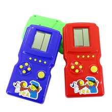 10pcs/lot Retro Classic Childhood Tetris Handheld Game Players LCD Electronic Games Toys Game Console Riddle Educational Toy(China)