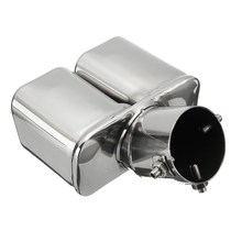 Universal Twin Double Dual Chorme CURVED Exhaust Tailpipe Tail Pipe End Trim Tip Muffler Finish Cover 32-58mm 304Stainless Steel(China)