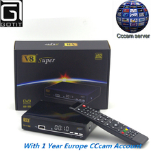 Freesat V8 Super DVB-S2 Satellite Receptor with 1 year Europe Spain UK Italy Portugal Dutch Polish Cccam 4clines set top box