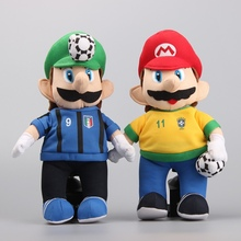 "3 Styles Super Mario with Football Plush Toys Cute Stuffed Dolls Kids Birthday Gift 10 "" 25 CM"