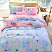 2017 Suitable for all children's rooms Double-sided bed linen set Down duvet covers Reactive printed bed sheets Flat bed linen