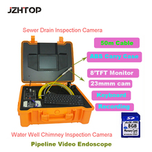 Waterproof Pipeline Drain Sewer Inspection Camera Wall Sewage Video Snake Camera System 50M Cable 23mm Keyboard Monitor(China)