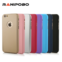 Solid color 360 Degree Cover Case For Iphone 6 6S Plus 5 5S SE 7 7 Plus Case Front Clear Glass Film Gold Metal Back Cover
