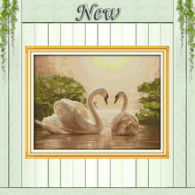 Two swans pond sun animal patterns counted printed on canvas DMC 14CT 11CT Joy Sunday Cross Stitch Embroider kits Needlework Set