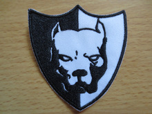 small dog head  High quality exquisite Embroidery Patches for Jacket back vest Motorcycle Club Biker accessory6*7cm
