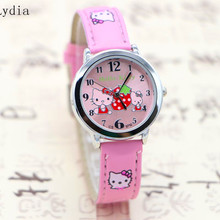 New Hello Kitty Watch Fashion Cute Cartoon Watches Kids Lovely Leather Strap Quartz Reloj Children hot sale wristwatch(China)