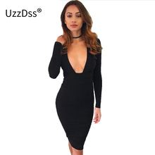 UZZDSS Autumn Elegant Black Bodycon Dress Women Deep V Neck Long Sleeve Sexy Club Slim Short Dresses Evening Party Vestidos