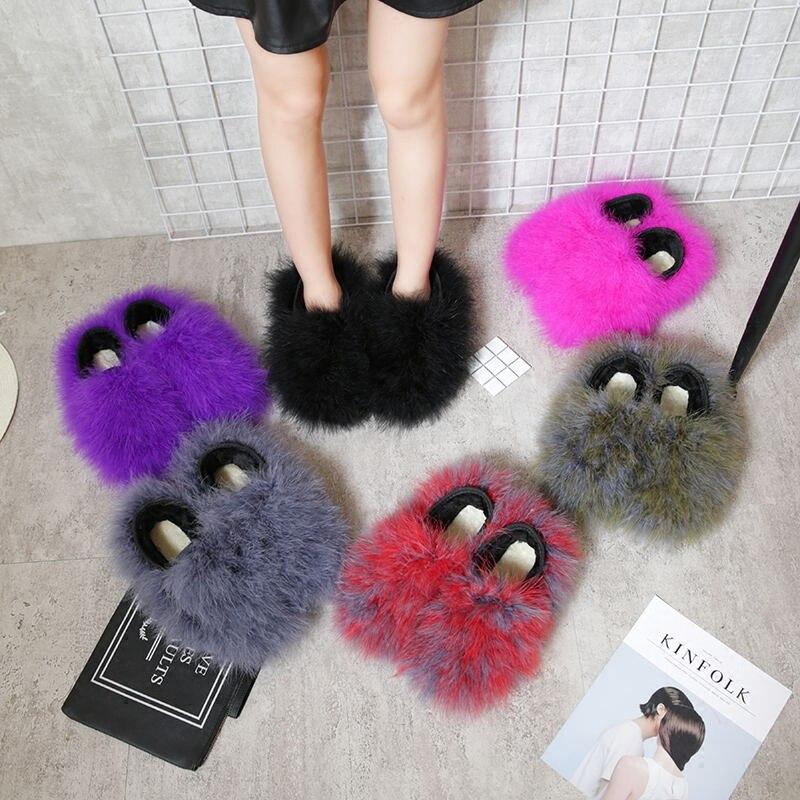 Ostrich Shoes Women Winter Warm Fur Plush 2018 Fashion Flat Slippers Ladies Sweet Candy Color Home Pantufas De Pelucia De Bichos