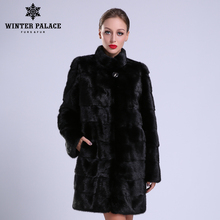 2016-2017 New style fashion fur coat natural mink stand Collar good quality mink fur coat women natural black coats of fur(China)