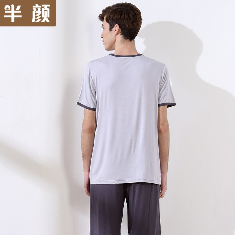 The Cheapest Price 100% Cotton Mens Short-sleeved Pajama Set O-neck Black T-shirt Plaid Trousers Mens Pajamas Autumn Sleepwear Plus Size For 95kg 2019 Official Men's Pajama Sets Underwear & Sleepwears