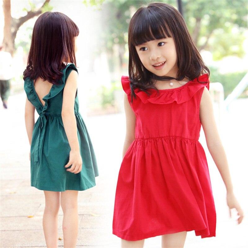 1pc Solid Summer Dress For Girls V shaped Back Elegant Children Dresses Vestidos Round Neck Fashion Design Sleeveless 2016 New<br><br>Aliexpress