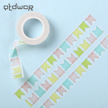 3PCS Creative Washi Decorative Adhesive Tape Flags Pattern Masking Paper Tape Diary Sticker Gift 1000 cm