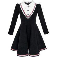 Sunny Fashion Girls Dress School Uniform White Collar Long Sleeve Striped 2017 Summer Princess Wedding Party Dresses Size 4-12(China)