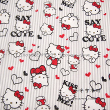 135*50cm1pc Hello Kitty Fabric 100%Cotton Fabric Telas Patchwork  Red Bow&Hello kitty Print Fabric for DIY Sewing Baby Clothing