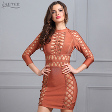 Buy Adyce 2017 Sexy Women Summer Bandage Dress Orange Black Hollow Mini Vestidos O-neck Celebrity Evening Party Dresses for $55.10 in AliExpress store