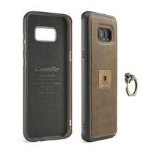 For Samsung S8 Plus Case Luxury Genuine Retro Texture Leather Case Ring Finger Flip Magnetic Cover Free Shipping(China)