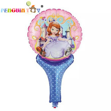 New Juguetes Retail Sofia Cartoon Hand Held Foil Princess Printed Handheld Balloon Toys For Kid Gift Party Layout Balloons
