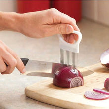 1 ШТ. Нержавеющая Сталь Slicer Руководство Помощь Держатель для Лук Помидор Овощерезка Кухонная Утварь(China)