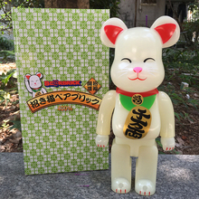 Vinyl Doll Bearbrick Be@rbrick 400% 28CM Luminous Fortune Cat PVC Vinyl Art Figure with retail box(China)
