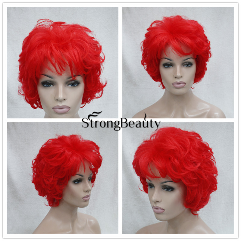 Perruque Blue Wigs Synthetic Short Curly Wavy Red Pink Green Purple Wigs High Quality Cheap Cosply  Party Wigs<br><br>Aliexpress