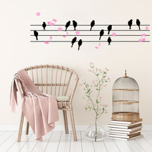 DIY Birds Flowers Music Notes Vinyl Wall Decal Stickers for Sitting Room Living Room Home Decor(China)