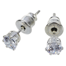 Brilliant Princess Diamond Ear Stud Earrings 18K White Gold Plated