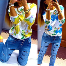 2016 O-neck Fashion Women's Floral Print Pattern women flower blouse Casual Puff 3/4 Sleeve Tops Blause Flower Blouse Women(China)